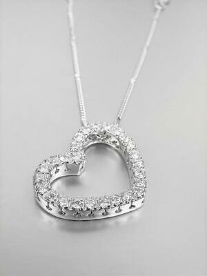 EXQUISITE 18kt White Gold Plated CZ Crystals Heart Pendant Silver Chain Necklace