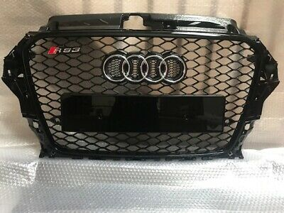 A3 S3 RS3 Style Audi Gloss Black Front Honeycomb Grille 12 - 15 yrs Chrome Rings