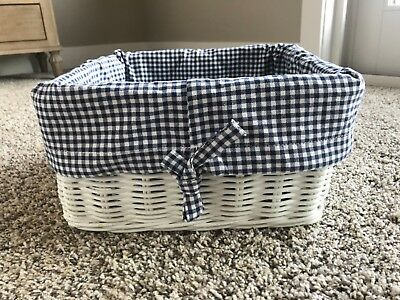Nursery Décor Pottery Barn Kids Sabrina Basket Liner Green Gingham Medium Size High Quality Materials Boxes & Storage