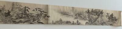 "SESSHU Mori Hand Roll Scroll ""Landscapes of the Four Seasons"" 14'feet"