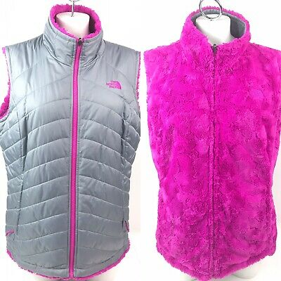 de8e2eb4c THE NORTH FACE Fleece Hot Pink Quilted Gray Reversible Full Zip Vest Womens  XL