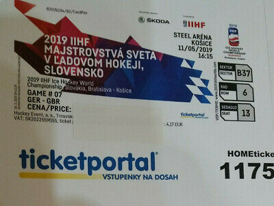 IIHF Eishockey WM 2019 Ticket GERMANY-GROßBRITAIN am 11.05.2019 in Kosice