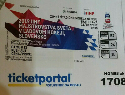IIHF Eishockey WM 2019 Ticket RUSSIA-AUSTRIA am 12.05.2019 in Bratislava