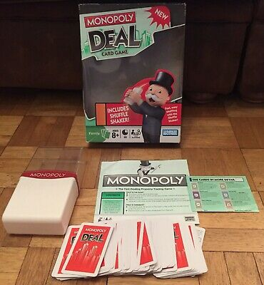 Monopoly Fast Deal Card Game with Shuffle Shaker Hasbro 2008 Parker Brothers