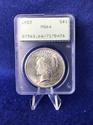 1923  PEACE SILVER DOLLAR $1  *PCGS MS64 *CHOICE BU* Old Green Rattler Holder