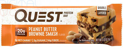 Quest Nutrition Peanut Butter Brownie Smash Protein Bar, High Protein, Low