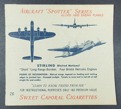 1940's Sweet Caporal Cigarettes Aircraft Spotter Series Card No. 26 Stirling