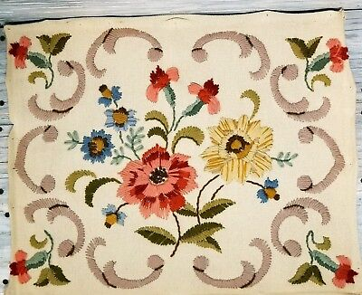 Vintage Finished Crewel 16x20 Flowers Floral Embroidered Completed Pink Blue EUC