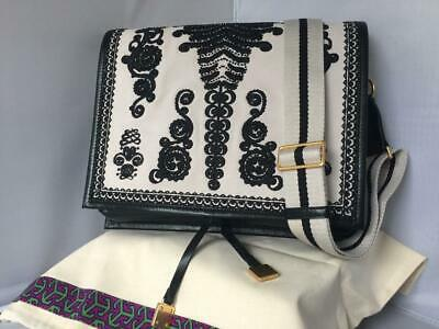 0d992447b91 NWT  798 Tory Burch Farrah Embroidered Bead Suede Leather Shoulder Bag New  Ivory
