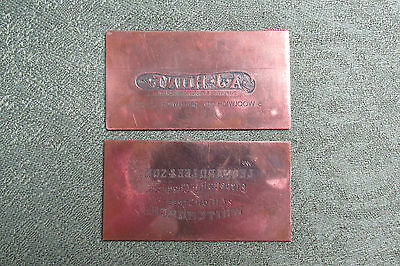 Two Copper Printing Plates -- Chemist -- A J Hunt Greenwich / L Lee Whitchurch
