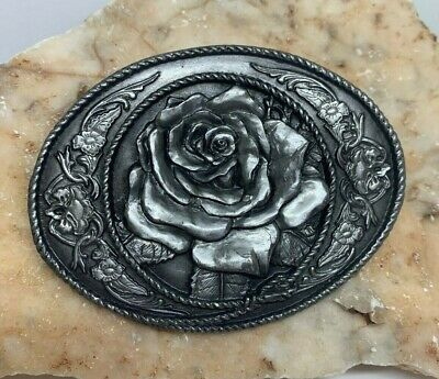 Vintage 1991 SISKIYOU Belt Buckle Pewter With ROSE Nice Detailing C-5