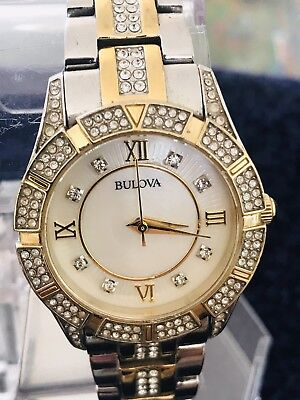 Bulova 98L135 Two Tone SS Crystal Accent MOP Dial Women's Watch