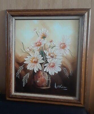 "Vintage Frank Walcutt Original Sunflower Oil Painting, 20"" x 24"""