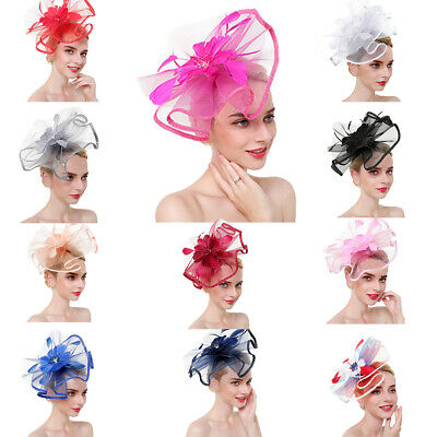 Flower Feather Fascinator Bead Beak Hair Clip Brooch Ladies Day Ascot Races AU