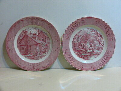 """Set of 2 Currier and Ives 10"""" Dinner Plates Royal Ironstone Pink"""