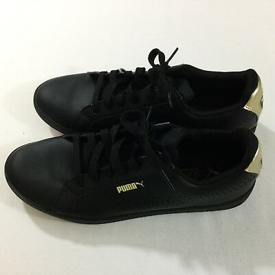 8bf2f663a851 Puma Womens Smash Perforated Metallic Sneaker Shoes Black Gold Size 8.5