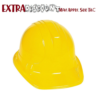 12 Child Yellow Plastic Hat Costume Favours Construction Builder Worker Party