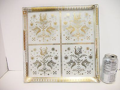 """MCM Georges Briard T Porter Goldtone Glass Tray 13 1/2"""" Sq Tulips Hearts 1960s"""