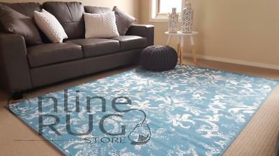 Floor Rug Blue White Classic French Provincial Damask Extra Large - 200 X 290 Cm