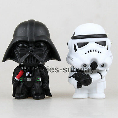 """New in box Lot 2 pcs Star Wars Darth Vader & Stormtrooper  action figures 4"""" Toy"""
