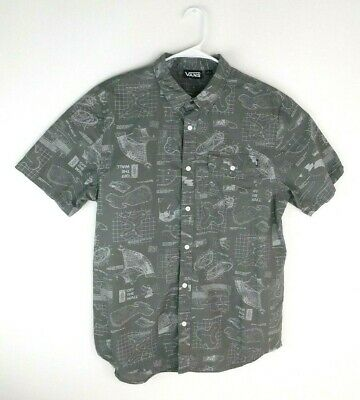 4cf6f0dc2e VANS OFF THE Wall Mens Large Button Front Short Sleeve Shirt Guitar ...