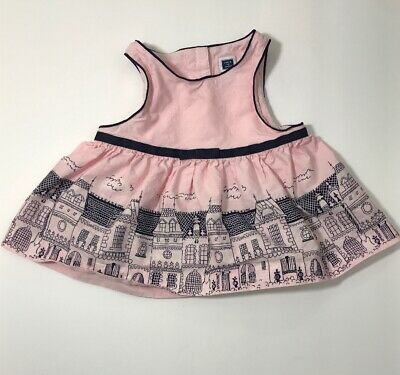 064c2d48916 JANIE And JACK Baby Girl Dress 6-12 M Pink Blue Houses City Missing Bloomers