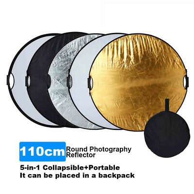 """5in1 110cm 43"""" Portable Collapsible Light Round Photography Reflector for Studio"""