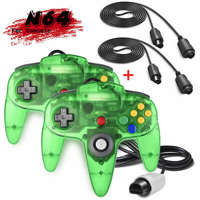 2PACK N64 Remote Controller Gamepad Control Joystick+Cable For Nintendo 64 N64