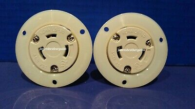 Flanged Outlet 30 Amp 125 Volt Female Twist Lock 3 Wire Nema L5-30R 2 Pack
