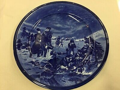 ANTIQUE CAULDON BLUE WILLOW WAR  SCENE CABINET DISPLAY PLATE 32cms