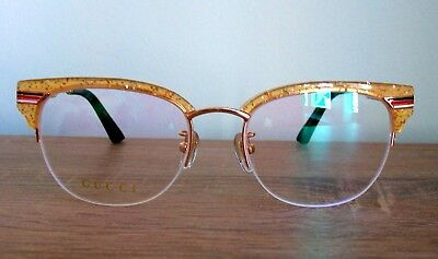 daee6960a1 NEW GUCCI Eyeglass Yellow Gold Frame for women Authentic tags case pouch  cloth