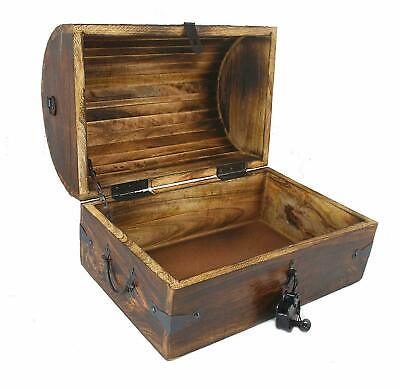 Large Wooden Pirate Treasure Chest Wood Box 15x10x10 With Iron Lock Skeleton Key