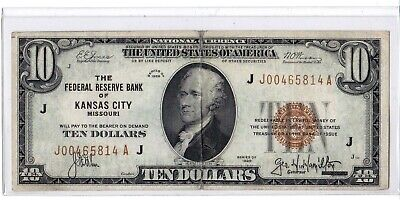 1929 $10 Kansas City Missouri Federal Reserve Bank Note Brown National Currency
