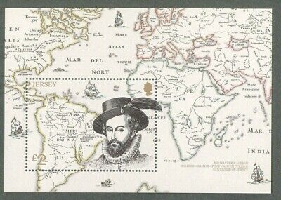 Jersey-Sir Walter Raleigh-Maps -Soldier-Adventurer-mnh min sheet 2019