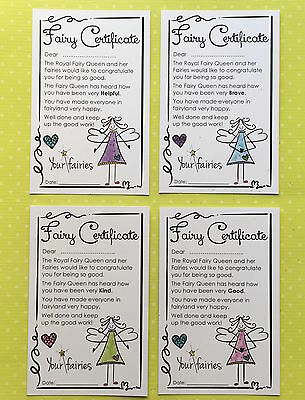 Fairy Certificates 4 pack - Good, Kind, Helpful & Brave -Fairy Door - 4 colours