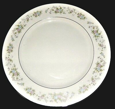 "Carlton Corsage 481 Silver Rim White  12"" Serving Platter Fine China"