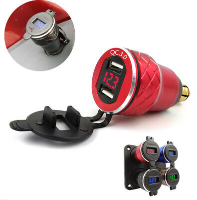 Red CNC Voltmeter USB Phone Charger Power Socket for BMW Motorcycle Hella Plug