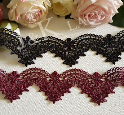4.2 cm width Beautiful Maroon/Black Venise Lace Trim