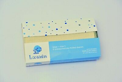 Lorandos Prefold Unbleached Cloth Diapers Infant Size 2  (Pack of 6)