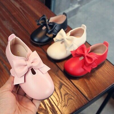 Children Toddler Kids Girls Solid Leather Bowknot Princess Single Casual Shoes