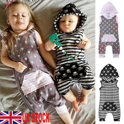 UK Newborn Infant Baby Boy Girl Clothes Hooded Jumpsuit Romper Bodysuit Outfits