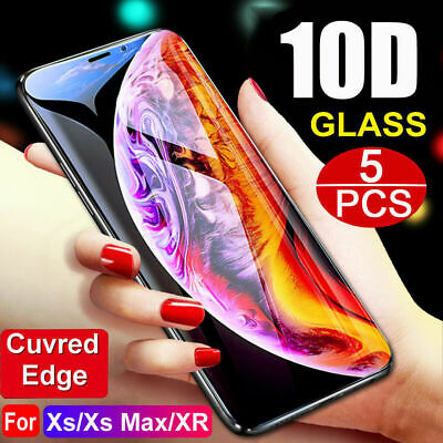 5PCS For iPhone XR Xs Max X 8 10D Full Cover Tempered Glass Screen Protector A+