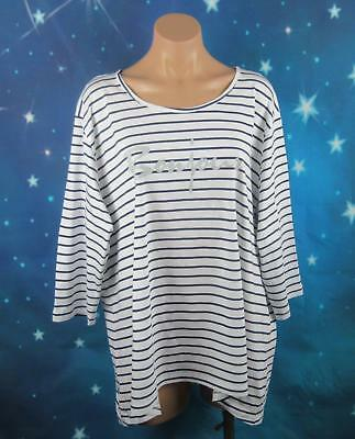 "Belle Curve Size 20 Plus Womans, Vanilla Striped Sleep Shirt ""New"""