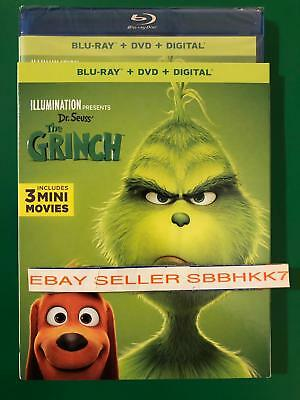 Dr. Seuss' THE GRINCH 2019 2018 Blu-Ray + DVD + Digital & Slipcover Free Shipp