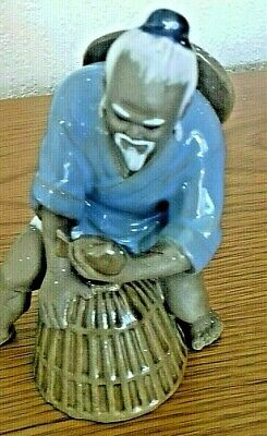 Handcrafted Painted Fisherman Ceramic Traditional Chinese Fishermen Ornament