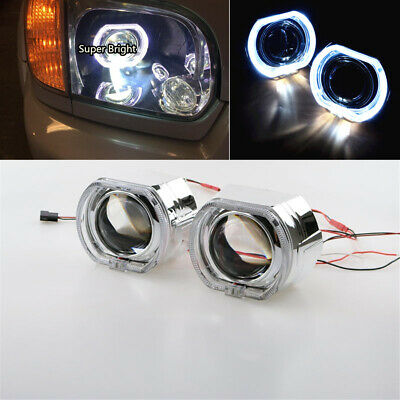 2.5 RED Halo Ring Angel Eye Bi-Xenon HID Car Projector Headlight Lens Kit LHD Xenon Lights Light Bulbs