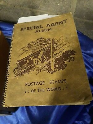 Vintage STAMP ALBUM  OF WORLDWIDE STAMPS SPECIAL AGENT THOMAS CLIFFE
