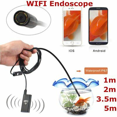 8 LED Wireless Endoscope WiFi Borescope Inspection Camera for iPhone AndroiPU#