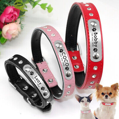 PU Leather Small Dog Collar Personalised Engraved ID Nameplate for Pet Puppy Cat