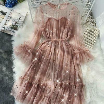 O-neck Flare Sleeve Sequined Mesh Shiny Fairy Dress Women Solid Color Pleated